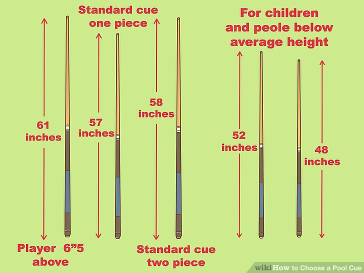 How to choose a Pool Cue length? Pool Cues that are made available at community halls, clubs and such places where Pool tables are meant for the use of the public would have the standard Pool cues within the average lengths available. Playing without a specific length preference would be conducive to a good learning cycle because that would expose us to grasp by experience as to how we are faring with the different lengths. Over a period we may be able to know by the experience gained as to which length would be the best in our hands and how best we are getting our shots at the ball and then decide on the length that we would prefer. If we are looking for the right Pool Cue length for our use, it does not offer many choices as they are made with average lengths of between 57 and 59 inches (140 to 150 cms). It is a very generally accepted fact that, if we are short in stature a longer Pool Cue would be ideal as we could reach the balls at a point further from us on the Pool Table and if we are taller then it would be the opposite. In any case, it would be our prerogative to check it out on a Pool Table, as to which length of Pool Cue would be most comfortable for us and how best we could play effectively and to the best of our ability. The Pool cue meets the ball at a lateral angle and the force with which the ball is hit and the angle at which the two touch each other is what makes the ball to move forward, and either be pocketed or not. There is one factor which would be quite relevant to an extent, and that would be our choosing of either a one or two piece Pool Cue, in which we could take along a couple or more of different lengths enabling us a choice at the Pool Table.